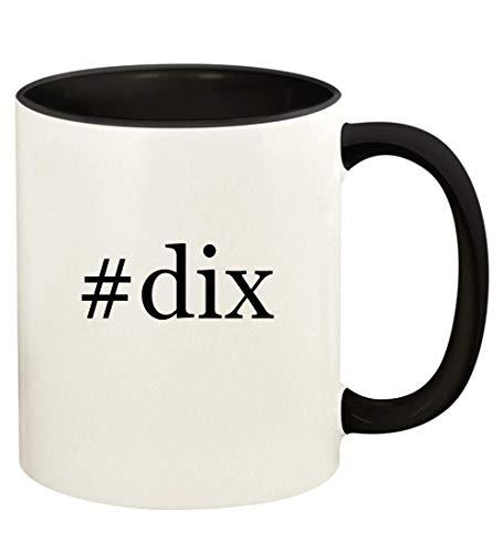 #dix - 11oz Hashtag Ceramic Colored Handle and Inside Coffee Mug Cup, Black