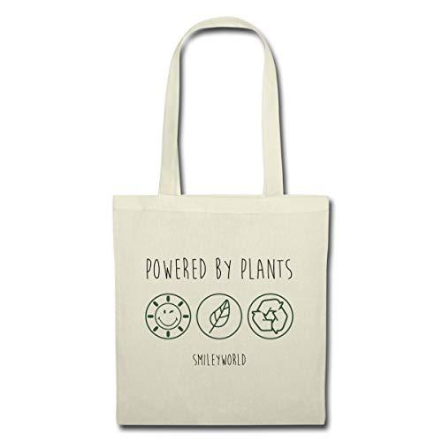 Spreadshirt SmileyWorld Powered By Plants Stoffbeutel, Natur