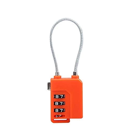 HYMD 3 dígitos contraseña Cerradura de Bloqueo de Seguridad Seguridad Maleta Maleta codificada conectada Armario Armario Armario candado (Color : Orange)