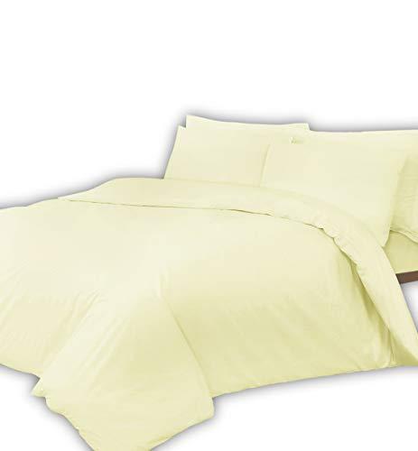 Linnen Zone beddengoed, aantal draden 400, extra diep: 40 cm, hoeslaken 100% Egyptisch katoen, superzachte hotelkwaliteit, crèmekleurig, eenpersoonsbed