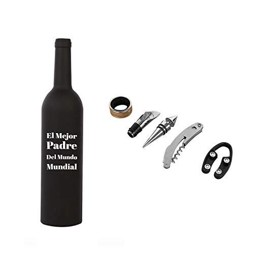 Estuche 5 Piezas de Utensilios Para Vino Con Forma de Botella Personalizable | Elige una frase o dedicatoria
