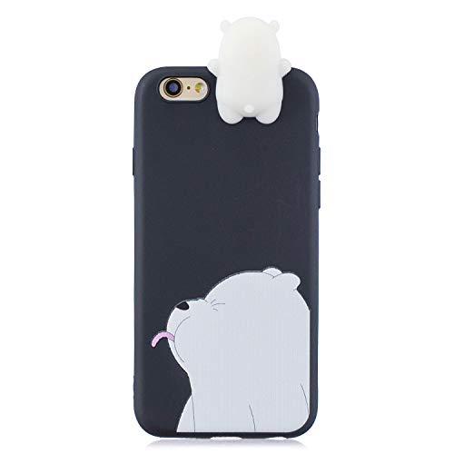 LeviDo Funda Compatible para iPhone 5/iPhone 5s/iPhone SE 2016 Silicona TPU Gel Carcasa 3D Dibujos Motivo Case Goma Ultrafina Bumper Antigolpes Protección Resistente Cover, Oso 2