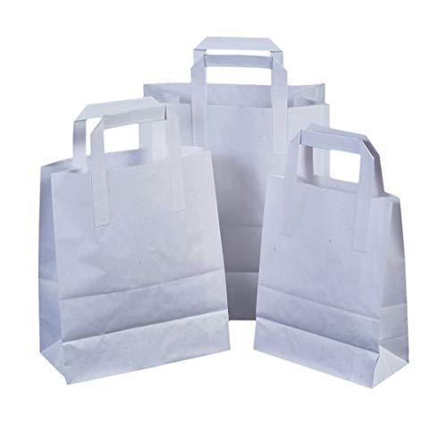 100 x biały papier torby do noszenia z płaskimi uchwytami - 25 cm x 30 cm x 14 cm od papierowych toreb do noszenia