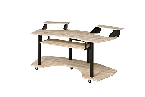 Acme Furniture Eleazar Music Recording Studio Desk, Natural Oak