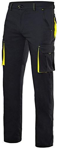 Velilla 103008S/C0-20/T46 Pantalones, Negro y amarillo fluorescente, 46
