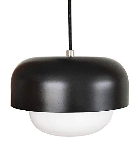Dyberg Larsen Haipot Opalglas Skandinavische Pendelleuchte / Moderne Pendellampe / Esstischlampe Schwarz  Mattschwarz / Metall Schirm Durchmesser: 23 cm Höhe: 15 cm