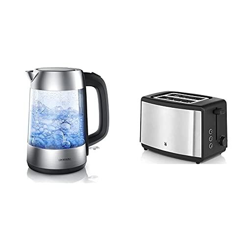 Arendo - Premium Edelstahl Glas Wasserkocher inkl. LED-Innenbeleuchtung & WMF Bueno Edition Toaster Edelstahl, Doppelschlitz Toaster mit Brötchenaufsatz, 2 Scheiben, 7 Bräunungsstufen, 800 W