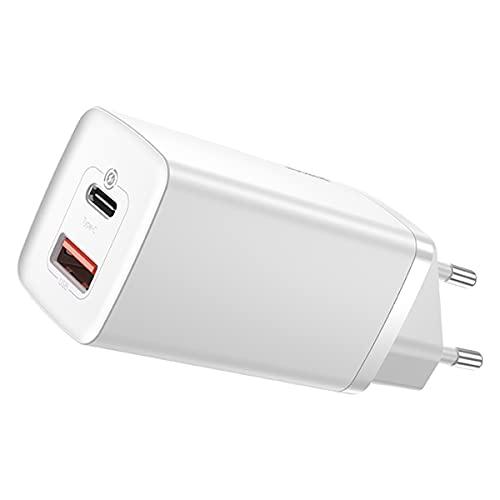 Baseus - Cargador USB C de 65 W, 2 puertos, fuente de alimentación USB C para iPhone 12 Pro Max, iPhone 11, Samsung Galaxy S21, S10, Xiaomi, Huawei, iPad Pro, Airpods, Switch MacBook Air, color blanco