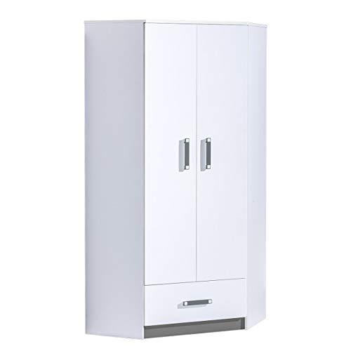 Furniture24 Eckkleiderschrank TRAFIKO 02, 2 Türiger Drehtürenschrank, Eckschrank mit 3 Einlegeböden, Kleiderstange und Schublade, Kleiderschrank für Jugendzimmer, Kinderzimmer (Weiß/Grau)