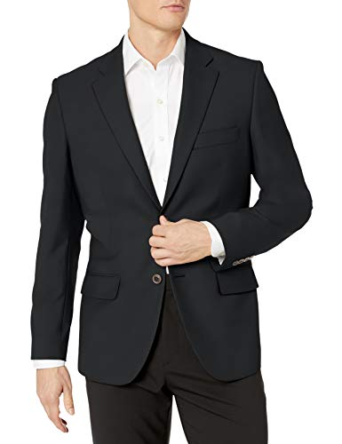 Amazon Essentials Men's Long-Sleeve Classic-fit Button-Front Stretch Blazer, Black, 44