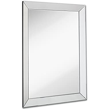 Large Framed Wall Mirror with 3 Inch Angled Beveled Mirror Frame | Premium Silver Backed Glass Panel Vanity, Bedroom, or Bathroom | Mirrored Rectangle Hangs Horizontal or Vertical (30  x 40 )