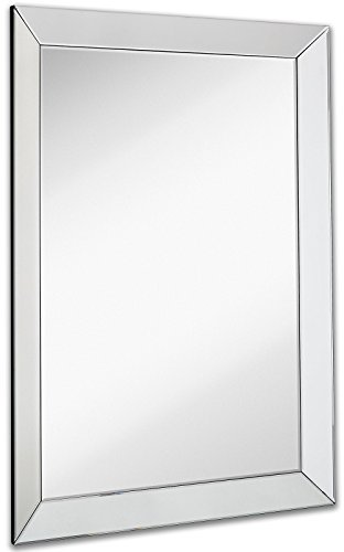 Hamilton Hills Large Framed Wall Mirror with 3 Inch Angled Beveled Mirror Frame | Premium Silver Backed Glass Panel Vanity or Bathroom Rectangle Hangs Horizontal or Vertical (30' x 40')