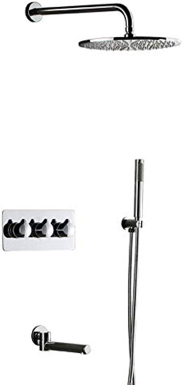 GFFXIXI Unterputz Duschsystem Mit(Temperatur Und Duschzeit) 3-Funktion Duschset Duscharmatur Regendusche Für Badezimmer,Silber