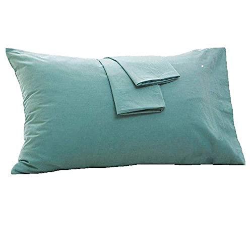 Aimili Juego de 2 fundas de almohada de 50 x 90 cm, 100 % algodón suave, fundas de cojín para almohada, acogedoras y de alta calidad, hipoalergénicas (verde-50 x 90 cm)