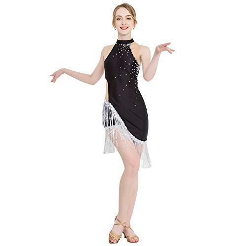 ROYAL SMEELA Robe de Danse Latine Femme Strass Paillette La Frange Flapper Robe Salsa Tango Ballroom Costume Robes de Danse Noir - Taille 5