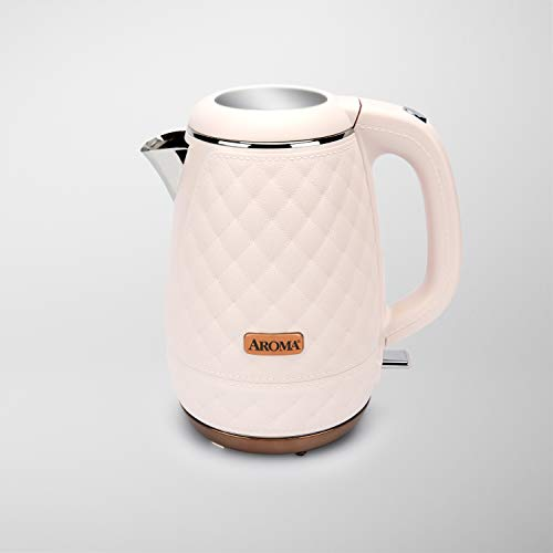 AROMA® Professional 1.5L / 6-Cup Stainless Steel Quilted Electric Kettle, Surgical Grade BPA-Free Stainless Steel, Cool-Touch Handle, Pink (AWK-3000P)