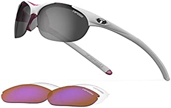 Tifosi Womens Wisp 0040103101 Wrap Sunglasses,Race Pink Frame/Grey, Red & Clear Lens,One Size