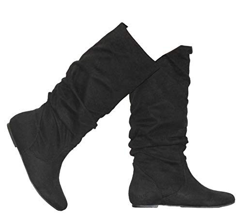 MVE Shoes Women's Shelly Faux Suede Slouch Mid-Calf Boot, (7.5, BlackZ)