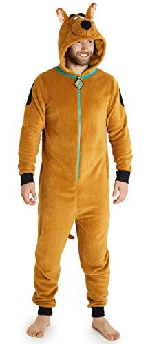 Scooby Doo Pigiama Intero Uomo, Caldo Pigiamone in Pile con Cappuccio, S - 2XL (Marrone, L)