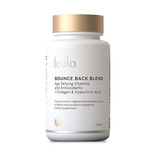Collagen, Turmeric, Glutathione + C, E, Hyaluronic Acid, Antioxidants, Vitamins All-in-One | Bounce Back Blend by Leulo (60 Caps) Supplement for Women & Men | Skin