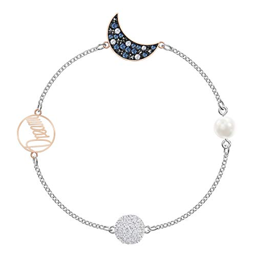 Swarovski Remix Collection Women's Bracelet, Strand Bracelet with a Moon Motif on a Rhodium Plated Chain with Crystal Pearl and Dark Crystal Accents