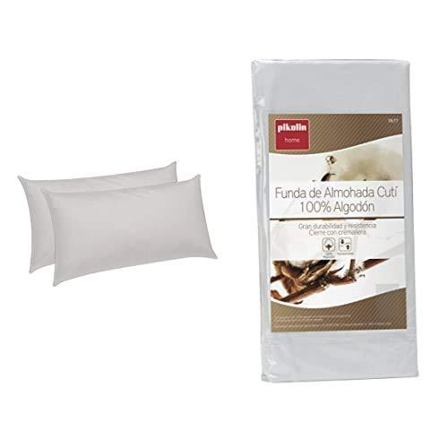 Pikolin Home - Pack De 2 Almohadas De Fibra, con Tratamiento Aloe Vera, Firmeza Baja, 45X70Cm (Todas Las Medidas) + - Pack De 2 Fundas De Almohada Cutí, 100% Algodón Satén