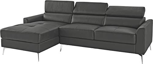 Loft24 A/S 3-Sitzer Sofa L-Form Couch Ecksofa Polsterecke mit Recamiere Leder Metallbeine (grau Recamiere Links, Lederimitat)