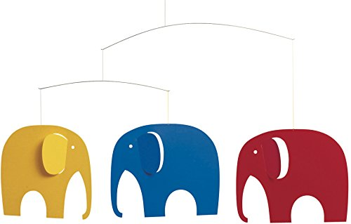 Flensted Mobiles Elephant Party yellow, blue, red 35x63cm