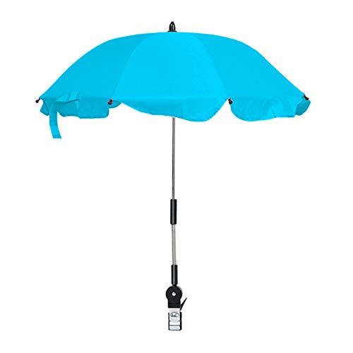 YQY Pulsera Ajustable Parasol Paraguas Universal Bebé e Infantil Protección Solar Paraguas para Cochecito, Cochecito, Cochecito y Buggy,Azul
