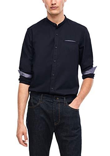 s.Oliver Herren Regular: Hemd mit Stehkragen dark blue 3XL