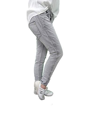 Karostar Stretch Baggy Boyfriend Jeans Nieten Seitenstreifen Denim Grey 4XL-48
