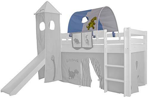XXL Discount Tunnel für Kinderbett 100% Baumwolle Baldachin Dach Bettdach Himmel für Hochbett Spielbett Etagenbett Kinderbett (Blau/Weiß, Dino, Weiße Holzhalter)