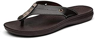 Brand Summer Men Slippers Male Leather Flip Flops for Man Vintage Casual Beach Sandals Non-slide Shoes (Color : Brown, Shoe Size : 7)