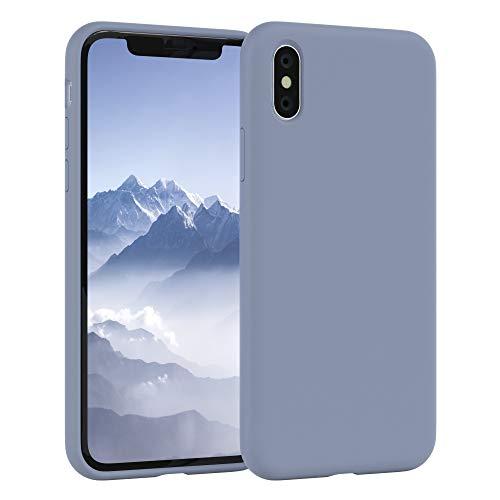 EAZY CASE Premium Silikon Handyhülle kompatibel mit iPhone X/XS, Slimcover mit Kameraschutz und Innenfutter, Silikonhülle, Schutzhülle, Bumper, Handy Case, Hülle, Softcase, Eisblau, Blau