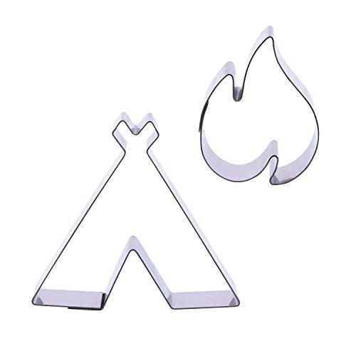 1 Keksausstecher Set Lagerfeuer | Edelstahl | Tipi Zelt | Feuer | Zeltlager | Feuerstelle | Camping