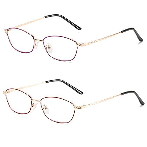 DZQUY Lectura Gafas Mate Acabado lectores Primavera bisagras diseño diseño Ultra Claro Cristal Lente proporcionan protección UV400 Adecuada para Hombres y Mujeres,2 Pack Mixed Color,+2.5