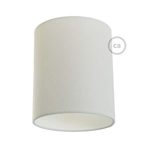 creative cables Zylinderförmiger Lampenschirm aus Stoff mit E27-Fassung, 15 cm Durchmesser, 18 cm Höhe - Made in Italy - Rauweiß Baumwolle