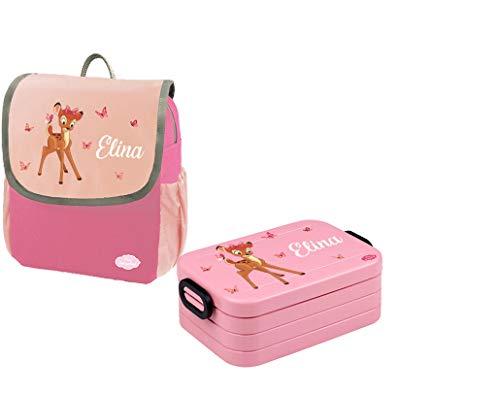 Mein Zwergenland Set 1 Kindergartenrucksack und Brotdose Happy Knirps Next mit Name REH mit Schmetterlinge, 2-teilig, Pink
