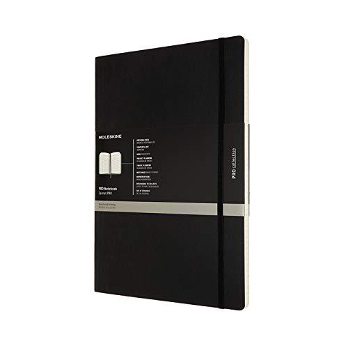 Moleskine - Pro Notebook, Perfektes Notizbuch für die Arbeit - Softcover mit Elastischem Verschluss - A4-Format, 21 x 29,7 cm - Farbe Schwarz, 192 Seiten