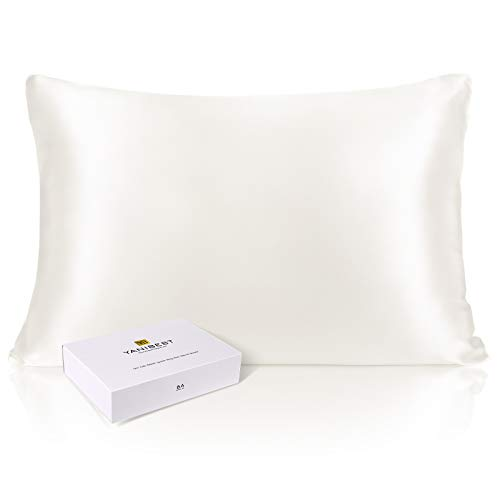 YANIBEST 25 Momme Silk Pillowcase for Hair and Skin - 6A 100% Mulberry Silk 900 Thread Count with Hidden Zipper Closure, 1 Pack Queen Size Pillow Case White