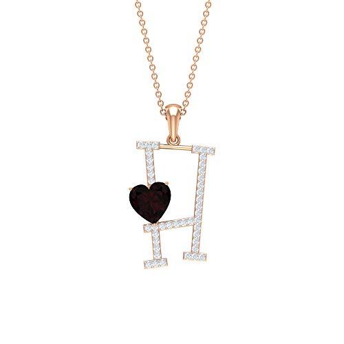 Colgante de granate con corte en corazón, D-VSSI con letra de moissanita H, collar con inicial en H, collar con colgante, Metal, Garnet Moissanite,