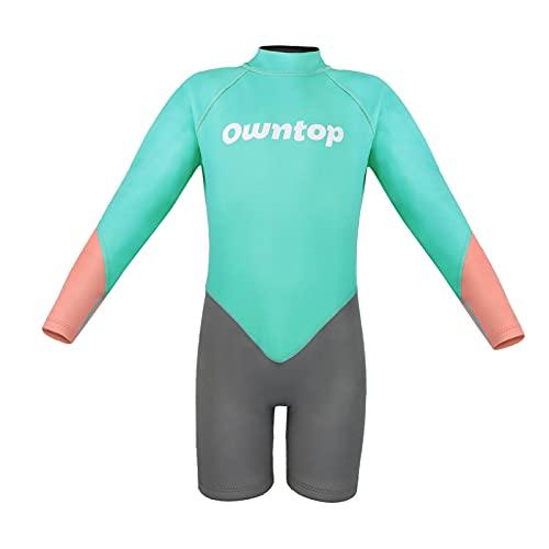 Kinder Shorty Neoprenanzug, 2,5 mm Neopren, einteilig, hält warm, Badeanzug, Tauchanzug, für Mädchen und Jungen, kurzärmelig, Reißverschluss am Rücken, zum Surfen, Tauchen, Angeln