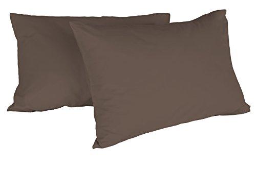 Italian Bed Linen Max Color Coppia di Federe Tinta Unita, 100% Cotone, Marrone, 52 x 82 cm