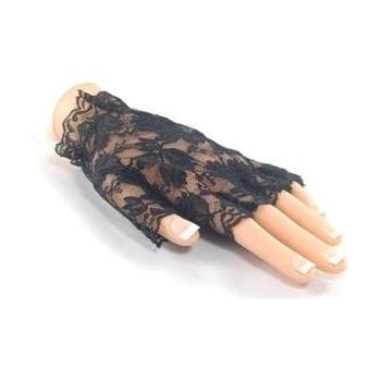 BFD One Pair Of Short Half Finger Floral Lace Gothic Steampunk Victorian Gloves, Black Lace Fingerless Gloves Ideal For Halloween Costume Accessory for ladies women.
