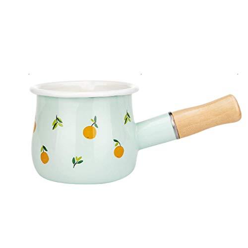 WJHCDDA Mini Padella Smaltata per Il Latte, pentola Antiaderente scalda Burro, pentole Multifunzione in Ceramica con Manico in Legno perfette per Cucinare Alimenti per Bambini Cioccolato Fuso C 0,5