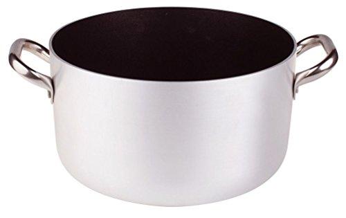 Pentole Agnelli, ALSA104S36, Casseruola Alta in Alluminio con 2 Maniglie in Acciaio, Alluminio Antiaderente interno 3mm, Diametro 36 cm