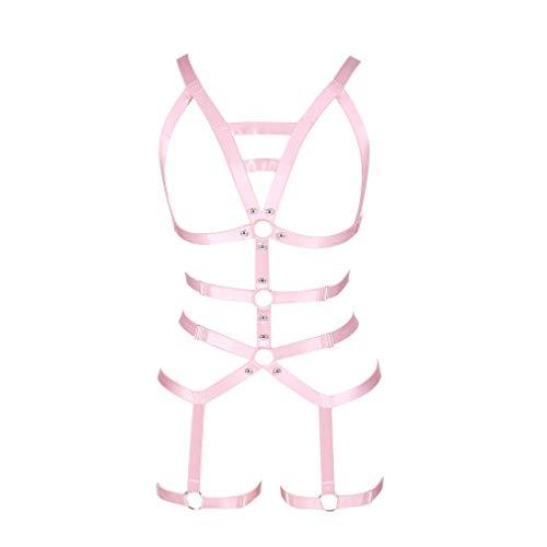 Damen Ganzer Körper ärmelloser BH Punk Goth Harness Ganzkörpergurt Strapsgürtel Strümpfe Dessous Elastischer Strapsgürtel Straps (Pink)