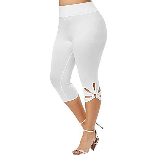 xoxing TIK Tok Fashion Women Plus Size Solid Hollow Elastic Waist Casual Leggings Pants White