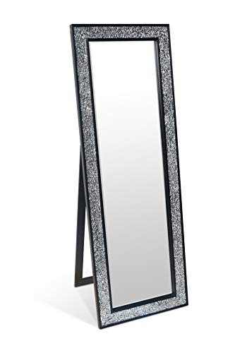 Glamour by Casa Chic Wandspiegel - Schwarz - Groß - 130x45 cm - Mosaikspiegel - Badspiegel