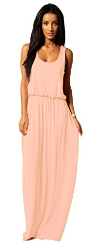Mikos Damen-Kleid, Bodenlanges Maxikleid, ideal für Sommer und Urlaub, Boho-Style S M L 36 38 40 (369) (Lachs, S/M)